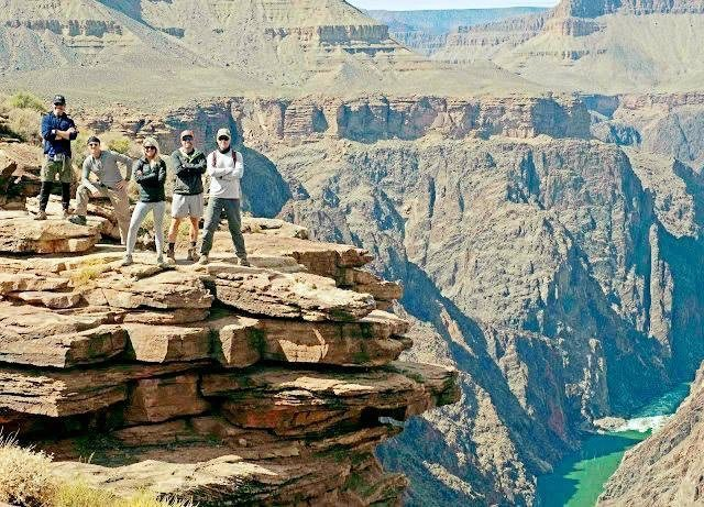 Group on ledge at Grand Canyon