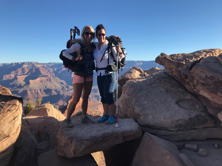 Sara Schulting-Kranz and Shawn Cheshire at the South Rim of the Grand Canyon. (Courtesy.)