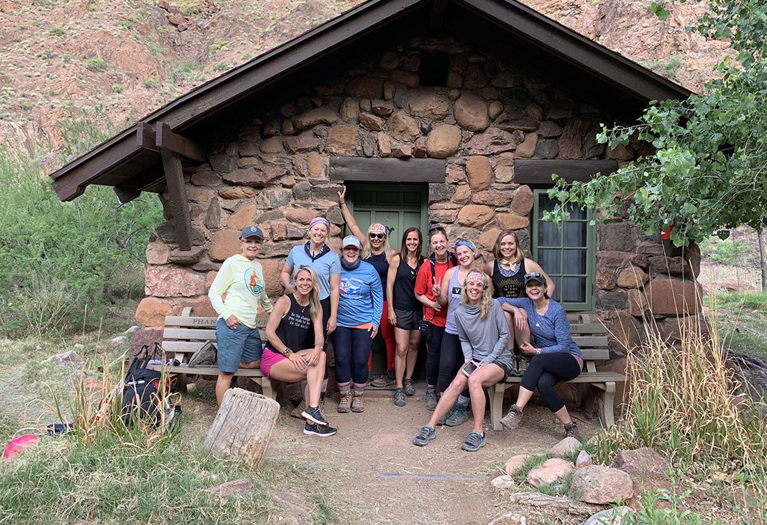 Sara Schulting-Kranz in the Grand Canyon with coaching group