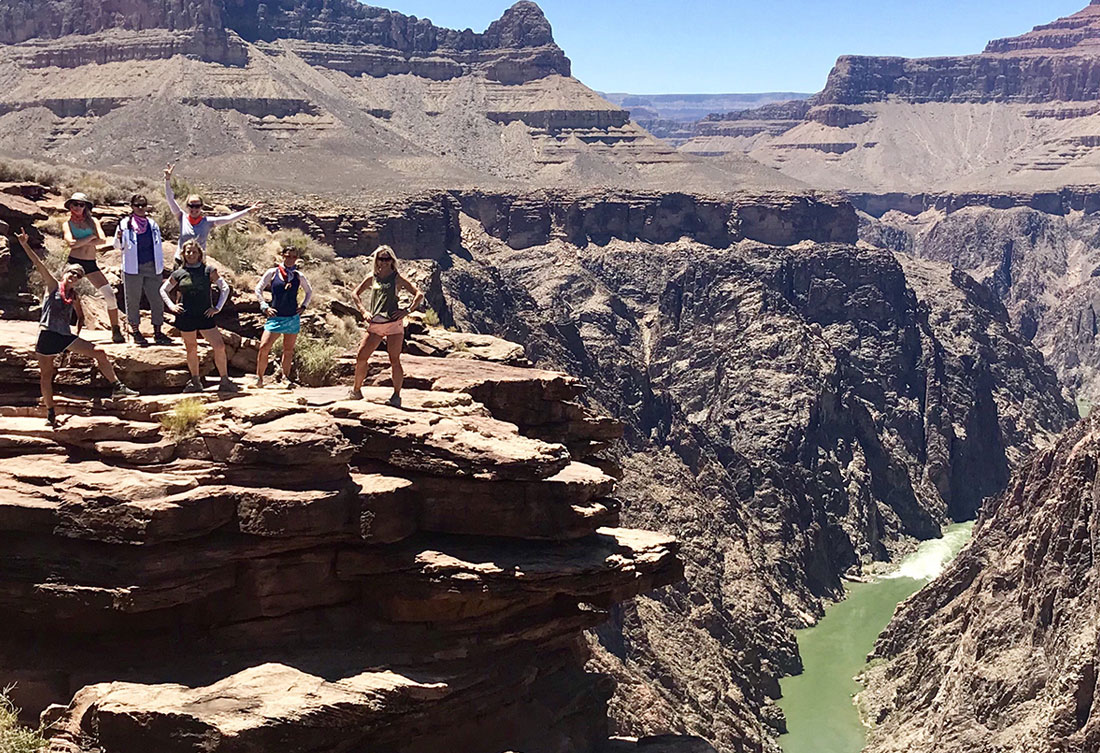 Sara Schulting-Kranz at the Grand Canyon with a coaching group