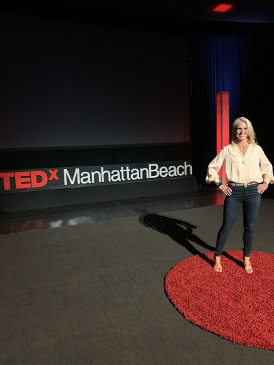 Sara Schulting Kranz on the TED X Stage in Manhattan Beach