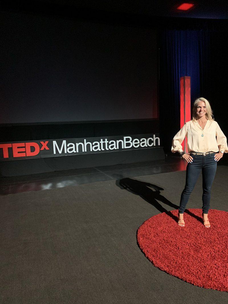 Sara Schulting Kranz on the TED X Stage in Manhattan Beach