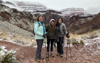 group hiking in winter in Grand Canyon