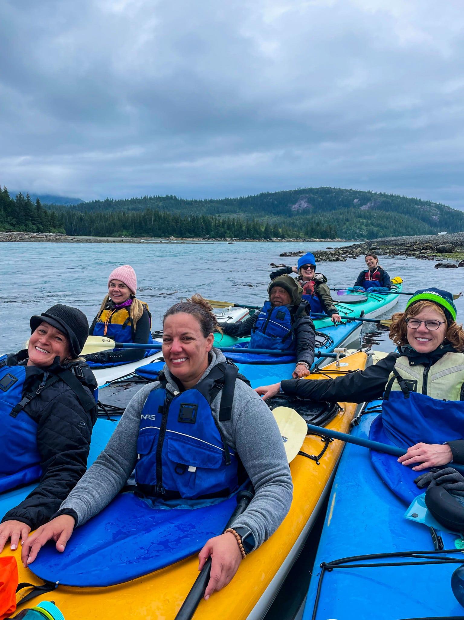 women in Kayaks in Alaska
